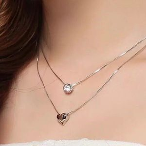 Sterling Silver 925 Double Heart Necklace